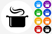 Steam Pot Icon on Flat Color Circle Buttons. This 100% royalty free vector illustration features the main icon pictured in black inside a white circle. The alternative color options in blue, green, yellow, red, purple, indigo, orange and black are on the right of the icon and are arranged in two vertical columns.