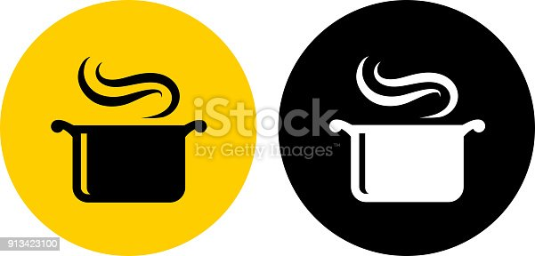 Steam Pot.. The icon is black and is placed on a round yellow vector sticker. The background is white. There is an alternate black and white round button on the left side of the image. The composition is simple and elegant. The vector icon is the most prominent part if this illustration. The yellow and black contrast is a good representation for alert, warning and notice signs. The black and white version is also included in the download.