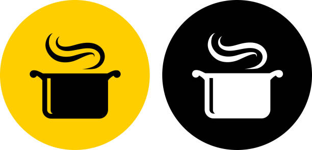 Steam Pot. Steam Pot.. The icon is black and is placed on a round yellow vector sticker. The background is white. There is an alternate black and white round button on the left side of the image. The composition is simple and elegant. The vector icon is the most prominent part if this illustration. The yellow and black contrast is a good representation for alert, warning and notice signs. The black and white version is also included in the download. cooking icons stock illustrations