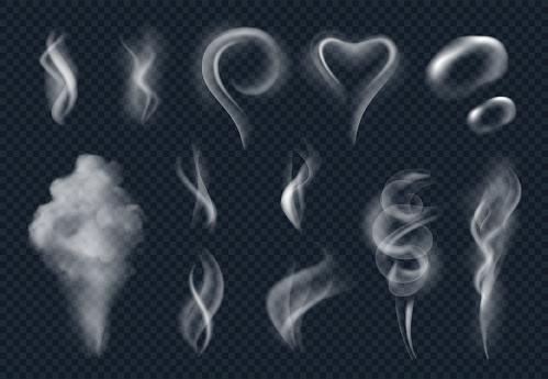 Vapore Realistico Tabacco Fumo Fumante Nuvola Da Vettore Alimentare Caldo Isolato - Immagini vettoriali stock e altre immagini di Astratto