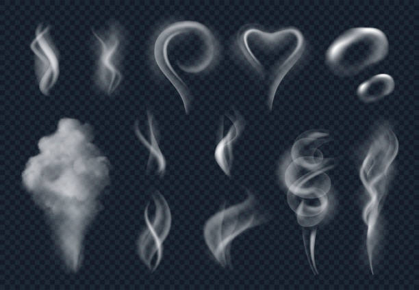 steam realistic. tobacco smoke steaming cloud from hot food vector isolated - smoke stock illustrations