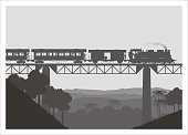 steam train crossing the bridge, silhouette style