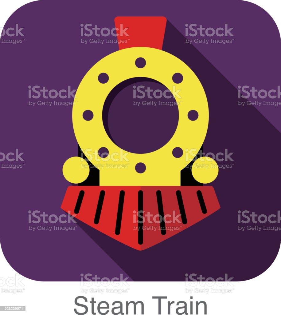 Steam train flat icon vector art illustration