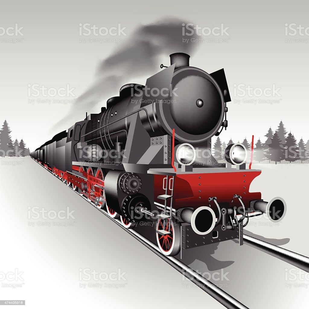 Steam train vector art illustration