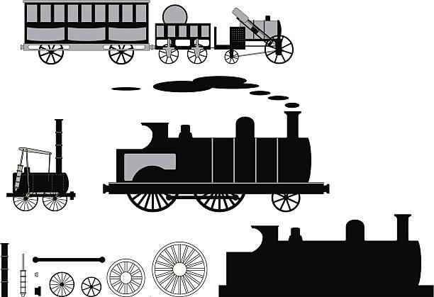 Steam Trains vector art illustration
