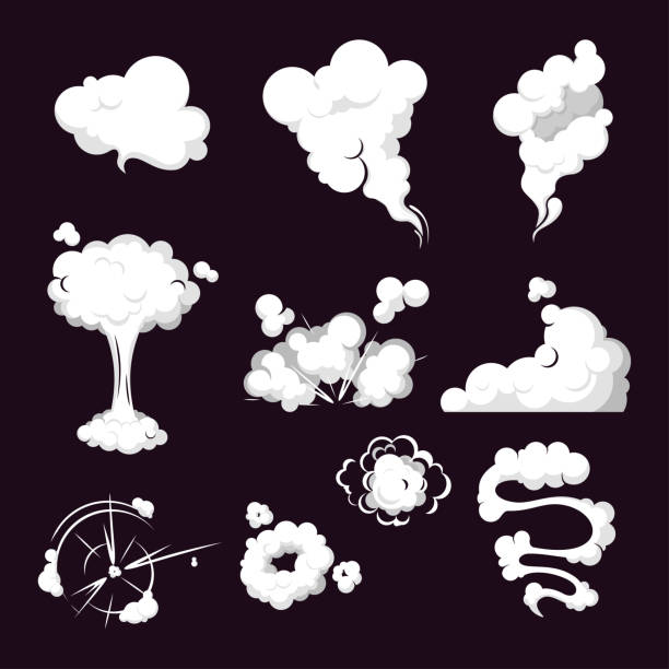 steam Cartoon set of smoke, steam, clouds. Smoke cloud, steam explosion, speed in motion. Collection steam cloud patterns for special effects in motion. Vector steam clouds, gas blast. smoke physical structure stock illustrations