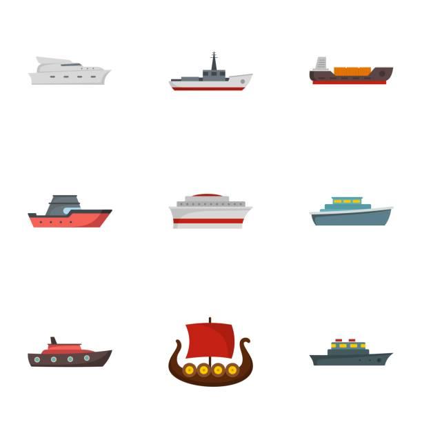 dampfer icons set, flachen stil - funktionssofa stock-grafiken, -clipart, -cartoons und -symbole