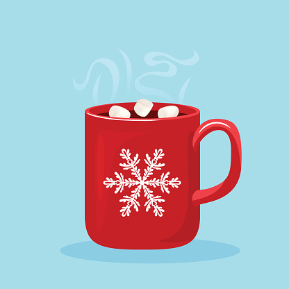 Steaming hot chocolate with marshmallows in red cup with white snowflake. Hot winter drink isolated on white background. Vector illustration of sweet cocoa in cartoon flat style