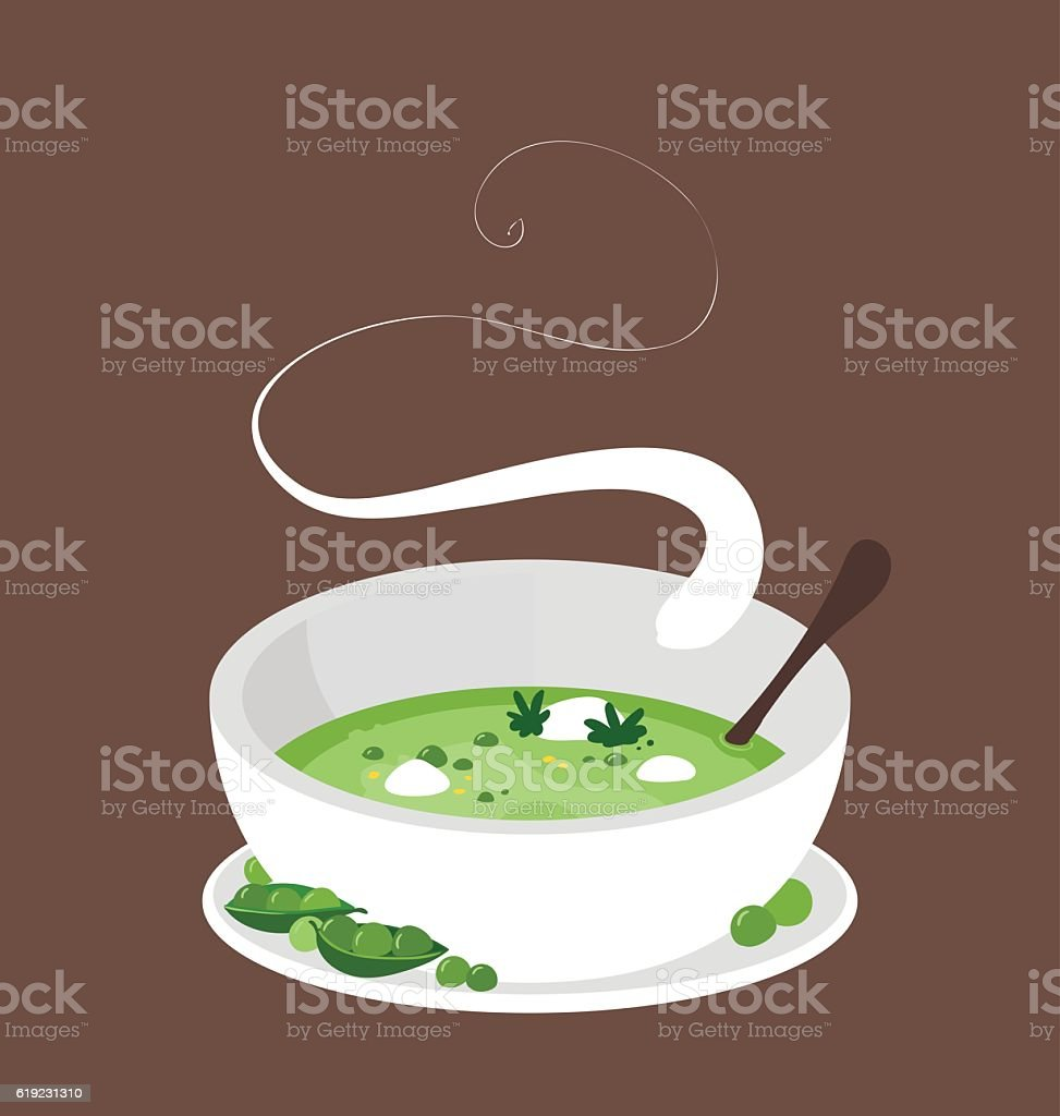 Steaming hot organic peas soup.