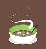 Steaming hot vegan mushroom soup.