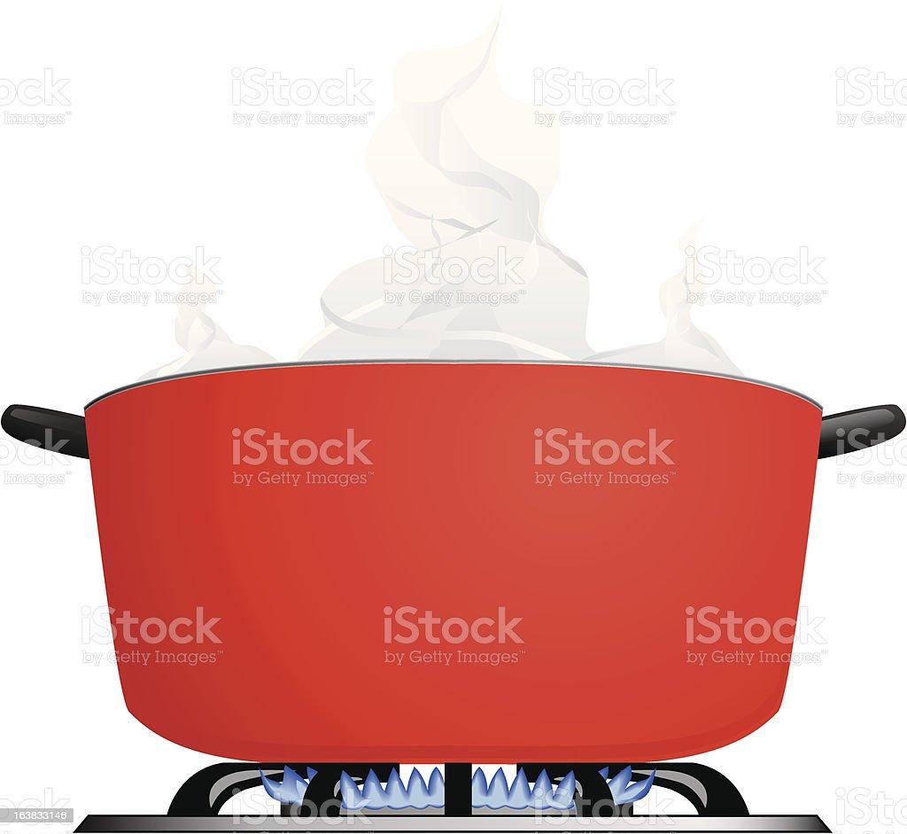 Steaming pot on a burner vector art illustration