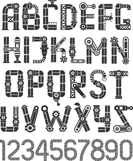 steampunk abc schwarz - steampunk stock-grafiken, -clipart, -cartoons und -symbole