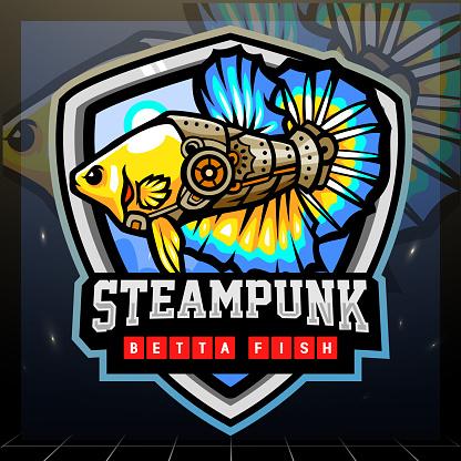 Steampunk betta fish mascot.