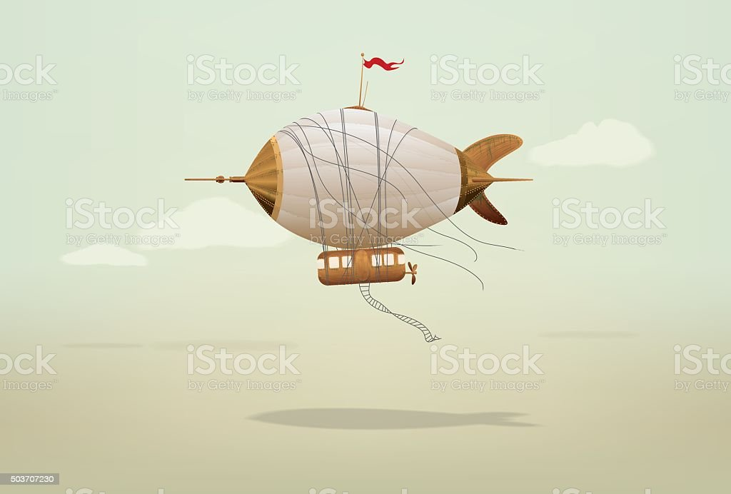 Steampunk Blimp Airship vector art illustration