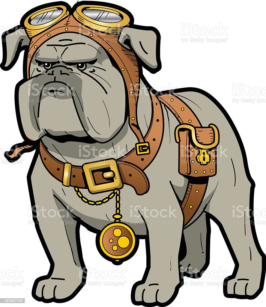 Steampunk Bulldog vector art illustration