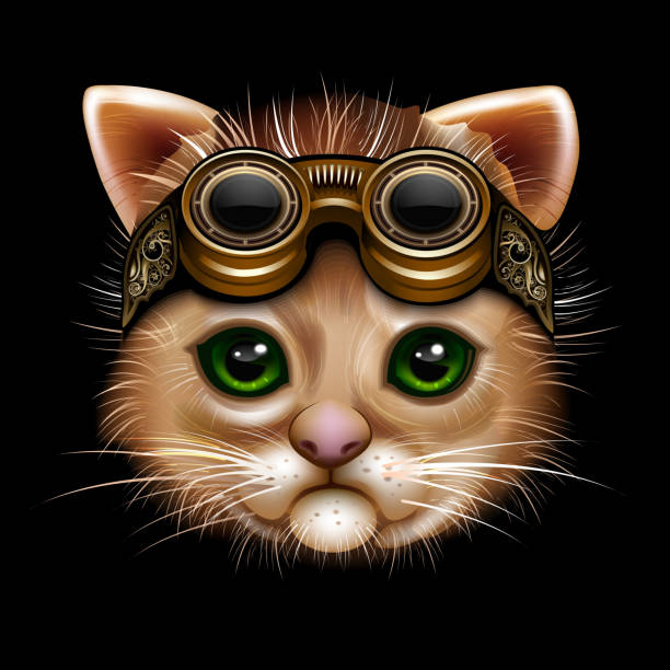 Steampunk cat face vector art illustration