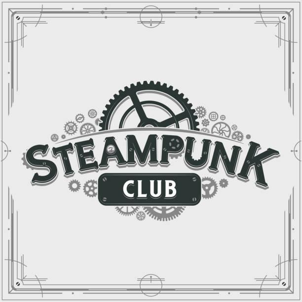 steampunk club logo design viktorianischen ära zahnräder insignien vektor-plakat auf hellem hintergrund für banner oder party einladung - steampunk stock-grafiken, -clipart, -cartoons und -symbole