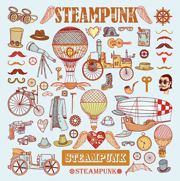 steampunk kollektion hand drawn vector illustration. - funktionsjacke stock-grafiken, -clipart, -cartoons und -symbole