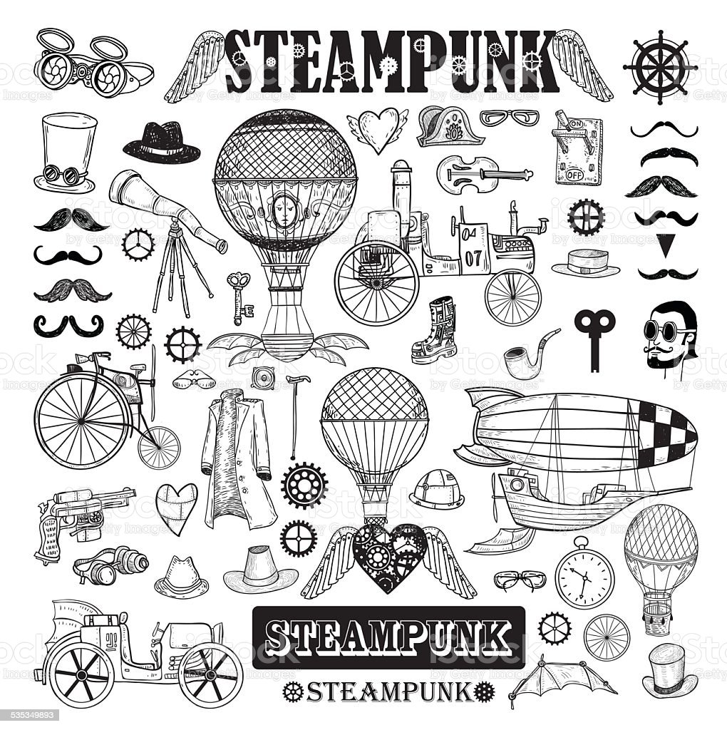 Steampunk collection, hand drawn vector illustration. vector art illustration