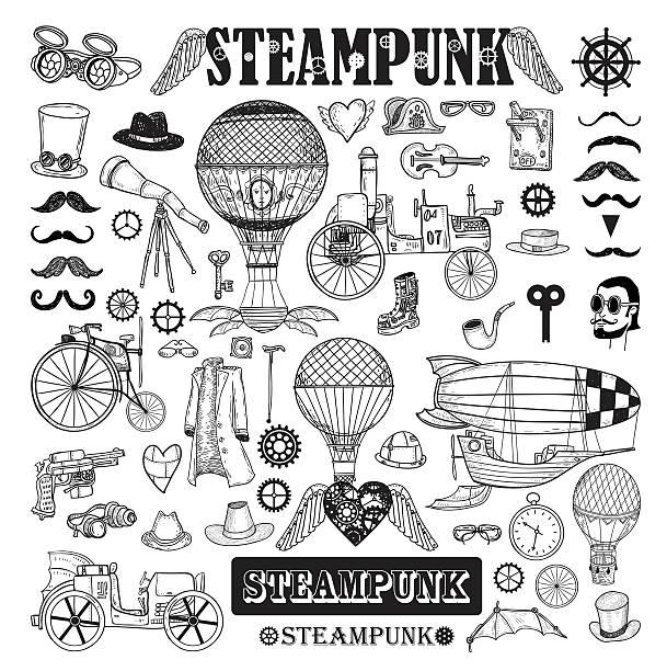 steampunk kollektion hand drawn vector illustration. - steampunk stock-grafiken, -clipart, -cartoons und -symbole