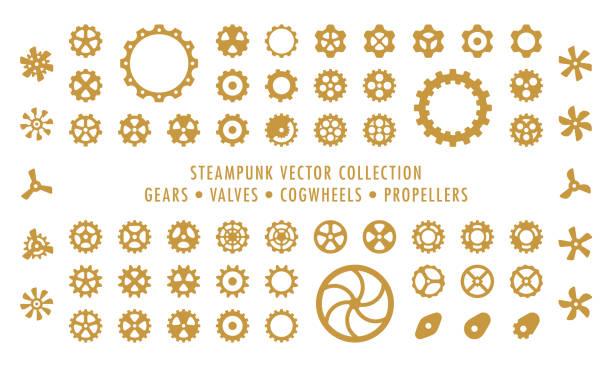steampunk sammlung isoliert - zahnräder, ventile und propeller - steampunk stock-grafiken, -clipart, -cartoons und -symbole