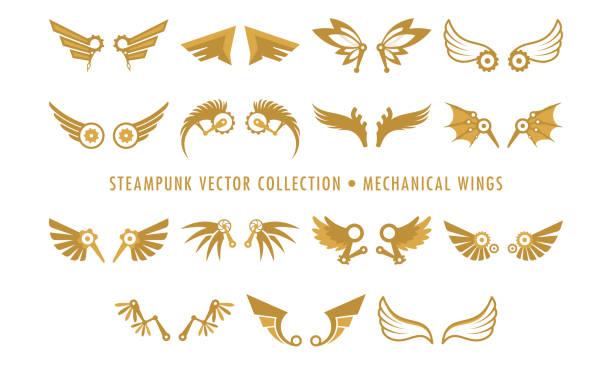 steampunk sammlung isoliert - mechanische flügel - steampunk stock-grafiken, -clipart, -cartoons und -symbole