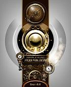 Steampunk concept mechanism. set of gears and clock mechanisms steampunk design. 10 EPS.