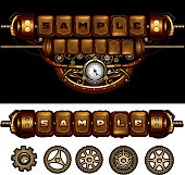 Steampunk conceptual mechanism with cogs and gears . 10 EPS file with transparency effects and overlapping colors.