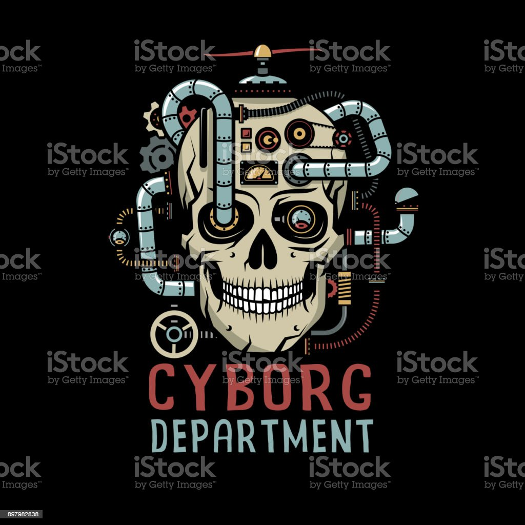 Steampunk Cyborg Skull With Stock Vector Art & More Images of ...