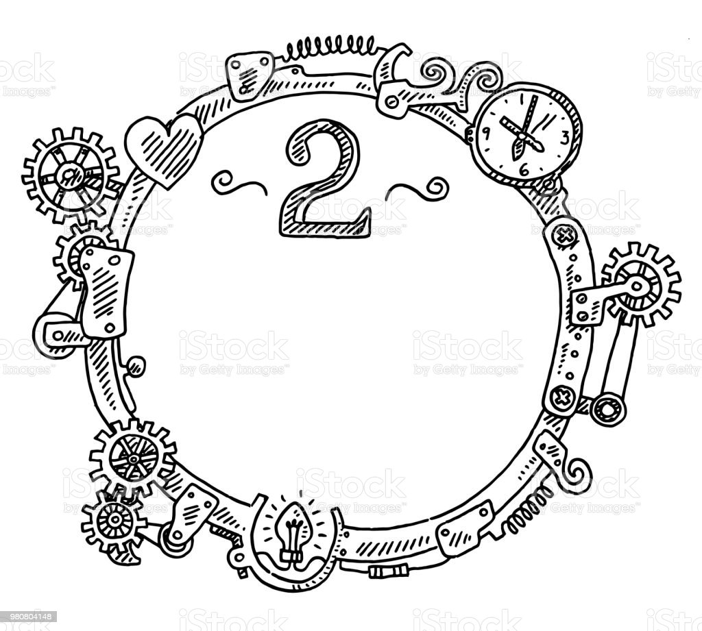 Steampunk Elements Round Frame Number 2 Drawing Stock Vector Art ...