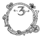 Steampunk Elements Round Frame Number 3 Drawing