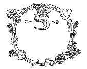 Hand-drawn vector drawing of a Round Frame with Steampunk Elements, Number 5. Black-and-White sketch on a transparent background (.eps-file). Included files are EPS (v10) and Hi-Res JPG.