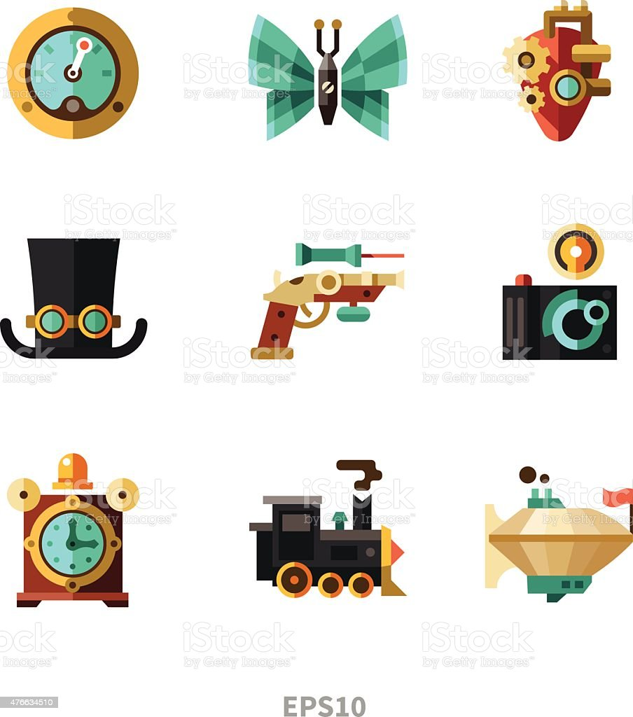 Steampunk elements vector art illustration