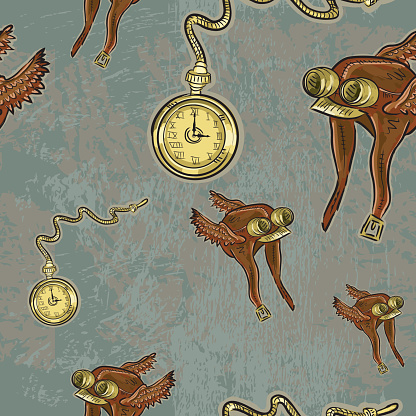 Steampunk flight cap and pocket watch repeating seamless pattern