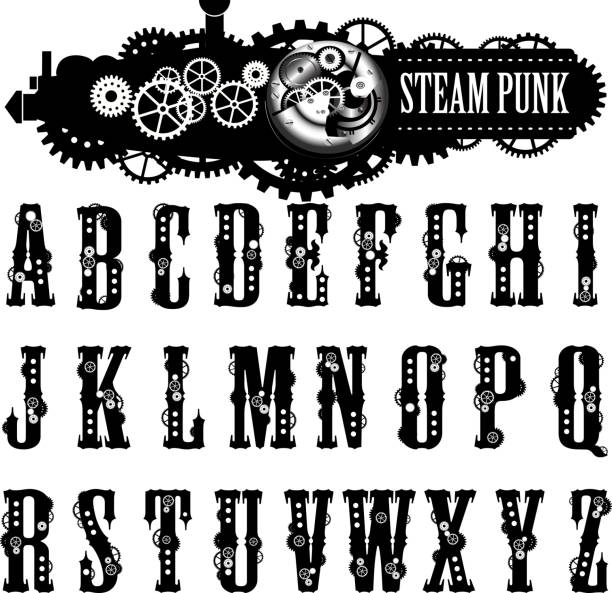 steampunk schriftart, illustration. - steampunk stock-grafiken, -clipart, -cartoons und -symbole