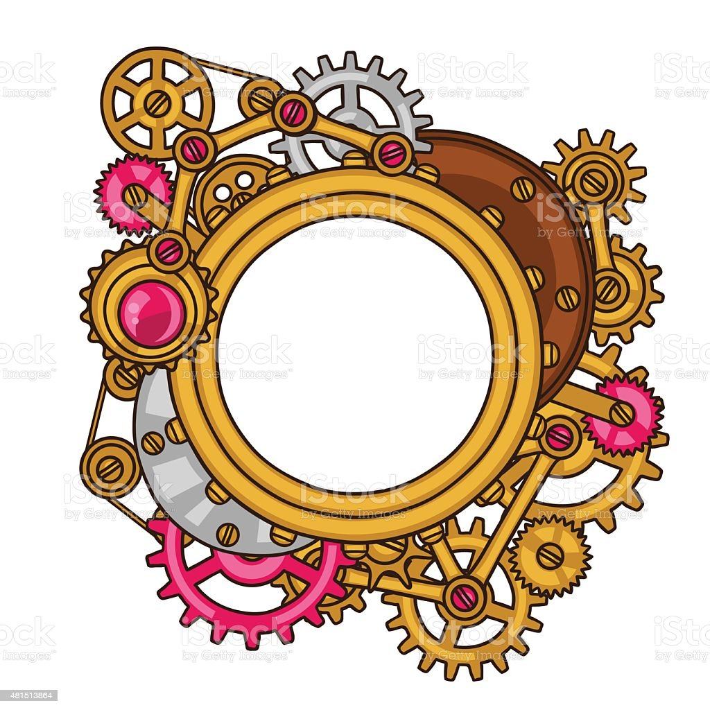 Steampunk Frame Collage Of Metal Gears In Doodle Style Stock Vector ...