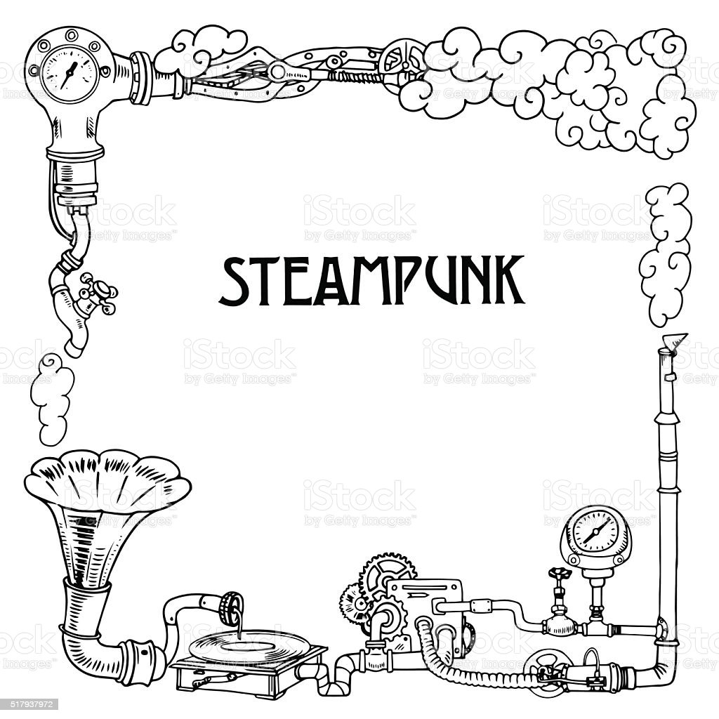 Steampunk Frame With Industrial Machines Gears Chains Gramophone And ...
