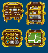 Collection of various buttons, icons, windows and other user interface elements for making 2d action and adventure games with steampunk theme