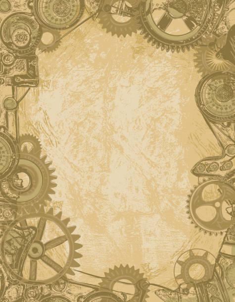 Steampunk gear background vector art illustration