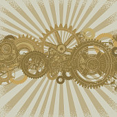 Vector illustration of a steampunk background with gears, pullies and dials across center. Download includes Illustrator 8 eps, high resolution jpg and png file.