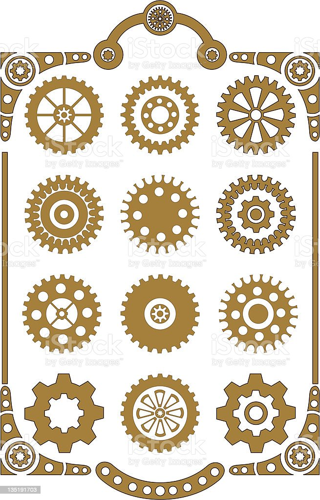 Steampunk Gear Icons In Tan And White stock vector art ...