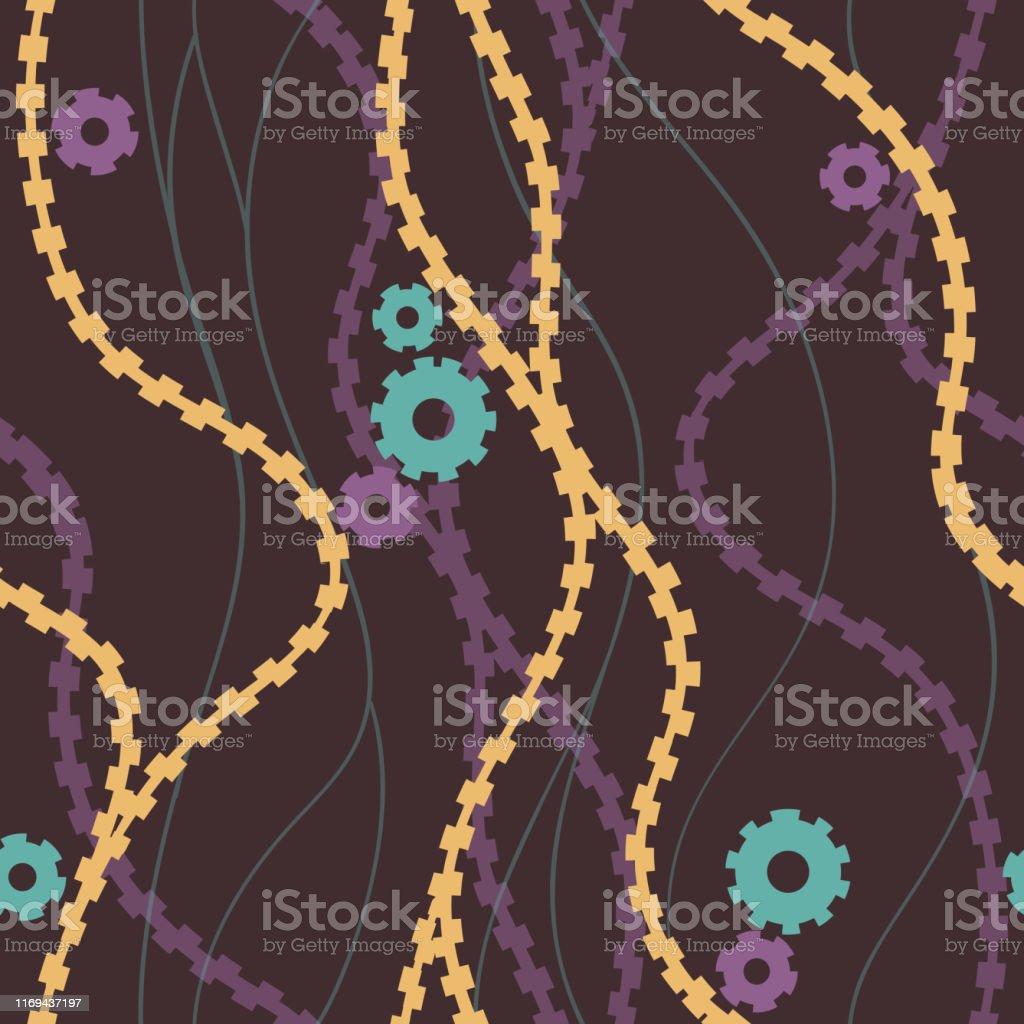 スチームパンクギアとチェーンシームレスなパターン壁紙の背景織物や包装紙のための反復可能なテクスチャベクトルイラスト もつれるのベクターアート素材や画像を多数ご用意 Istock