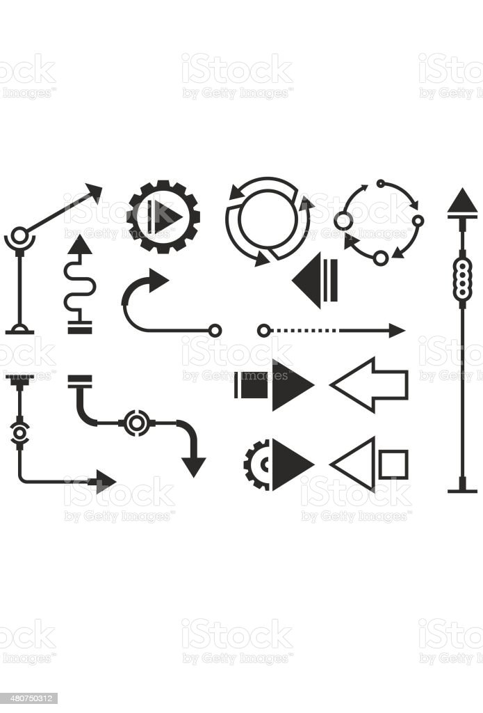 Steampunk graphic objects vector art illustration