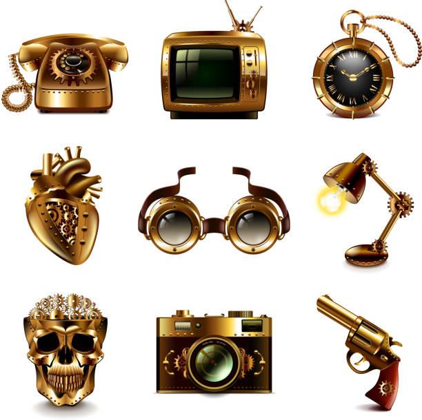 steampunk-symbole vektorsatz - steampunk stock-grafiken, -clipart, -cartoons und -symbole