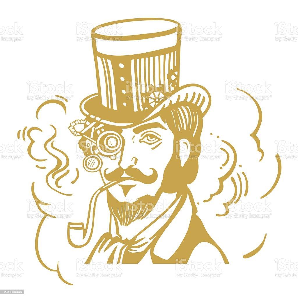 Steampunk hombre en el soporte superior y gafas con barba ilustración de  steampunk hombre en el b5eb2c735b0
