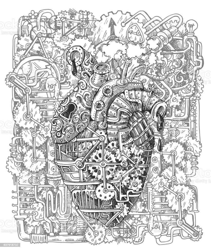 steampunk mechanical heart vector art illustration