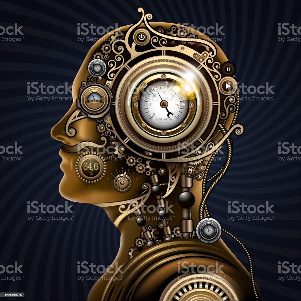 Steampunk mechanical human vector art illustration