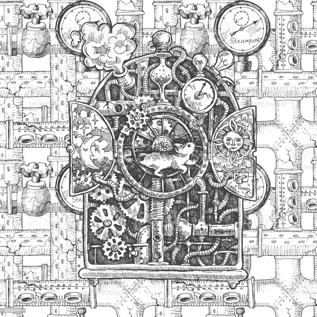 steampunk mechanism  sketch vector art illustration