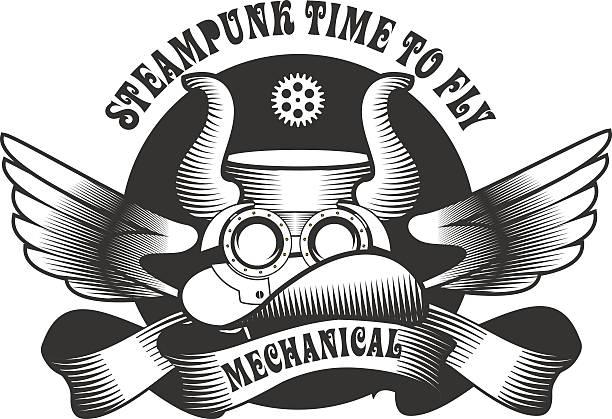 steampunk mechanismus - extravagant schutzbrille stock-grafiken, -clipart, -cartoons und -symbole