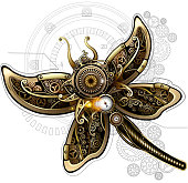Dragonfly collected from gears, cogs and mechanisms in the steampunk style. 10 EPS file with transparency effects and overlapping colors.